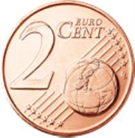 reverse of 2 Euro Cent (2002 - 2017) coin with KM# 182 from Greece. Inscription: 2 EURO CENT LL