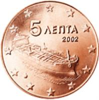 obverse of 5 Euro Cent (2002 - 2017) coin with KM# 183 from Greece. Inscription: 5 ΛΕΠΤΑ 2002 ΓΣ