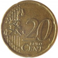 reverse of 20 Euro Cent - 1'st Map (2002 - 2006) coin with KM# 185 from Greece. Inscription: 20 EURO CENT LL