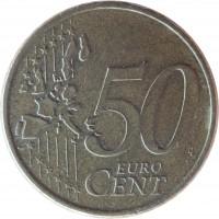 reverse of 50 Euro Cent - 1'st Map (2002 - 2006) coin with KM# 186 from Greece. Inscription: 50 EURO CENT LL