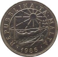 obverse of 1 Lira (1986) coin with KM# 82 from Malta. Inscription: REPUBLIKA · TA'· MALTA · 1986 ·
