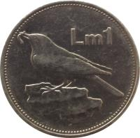 reverse of 1 Lira (1986) coin with KM# 82 from Malta. Inscription: Lm1