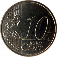reverse of 10 Euro Cent - 2'nd Map (2007 - 2017) coin with KM# 211 from Greece. Inscription: 10 EURO CENT LL