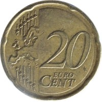 reverse of 20 Euro Cent - 2'nd Map (2007 - 2015) coin with KM# 212 from Greece. Inscription: 20 EURO CENT LL