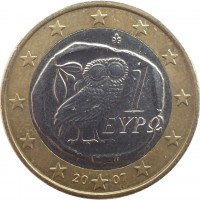 obverse of 1 Euro - 2'nd Map (2007 - 2015) coin with KM# 214 from Greece. Inscription: 1 ΕΥΡΩ ΓΣ 2009