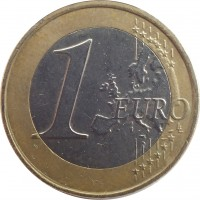 reverse of 1 Euro - 2'nd Map (2007 - 2015) coin with KM# 214 from Greece. Inscription: 1 EURO LL