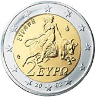 obverse of 2 Euro - 2'nd Map (2007 - 2015) coin with KM# 215 from Greece. Inscription: 2 ΕΥΡΩ ΕΥΡΩΠΗ 2008 ΓΣ