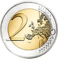 reverse of 2 Euro - 2'nd Map (2007 - 2015) coin with KM# 215 from Greece. Inscription: 2 EURO LL