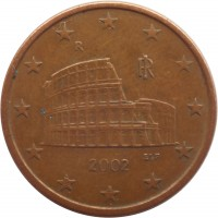 obverse of 5 Euro Cent (2002 - 2014) coin with KM# 212 from Italy. Inscription: ELF RI R 2005