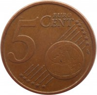 reverse of 5 Euro Cent (2002 - 2014) coin with KM# 212 from Italy. Inscription: 5 EURO CENT LL
