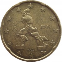 obverse of 20 Euro Cent - 1'st Map (2002 - 2007) coin with KM# 214 from Italy. Inscription: M.A.C. RI R 2003