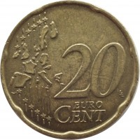 reverse of 20 Euro Cent - 1'st Map (2002 - 2007) coin with KM# 214 from Italy. Inscription: 20 EURO CENT LL
