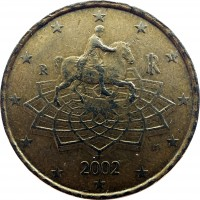 obverse of 50 Euro Cent - 1'st Map (2002 - 2007) coin with KM# 215 from Italy. Inscription: m RI R 2005