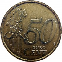reverse of 50 Euro Cent - 1'st Map (2002 - 2007) coin with KM# 215 from Italy. Inscription: 50 EURO CENT LL
