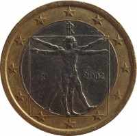 obverse of 1 Euro - 1'st Map (2002 - 2007) coin with KM# 216 from Italy. Inscription: RI R 2003 LC