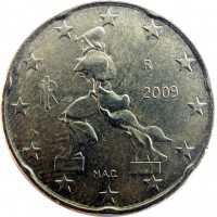 obverse of 20 Euro Cent - 2'nd Map (2008 - 2014) coin with KM# 248 from Italy. Inscription: M.A.C. RI R 2009
