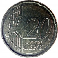 reverse of 20 Euro Cent - 2'nd Map (2008 - 2014) coin with KM# 248 from Italy. Inscription: 20 EURO CENT LL