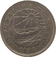 obverse of 25 Cents (1986) coin with KM# 80 from Malta. Inscription: REPUBLIKA · TA' · MALTA · 1986 ·