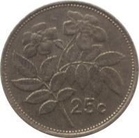 reverse of 25 Cents (1986) coin with KM# 80 from Malta. Inscription: 25c