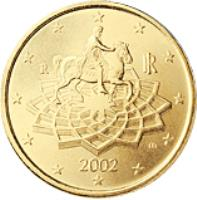 obverse of 50 Euro Cent - 2'nd Map (2008 - 2015) coin with KM# 249 from Italy. Inscription: m RI R 2008