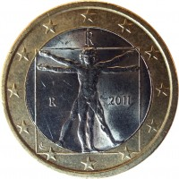 obverse of 1 Euro - 2'nd Map (2008 - 2015) coin with KM# 250 from Italy. Inscription: RI R 2011 LC