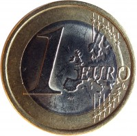 reverse of 1 Euro - 2'nd Map (2008 - 2015) coin with KM# 250 from Italy. Inscription: 1 EURO LL
