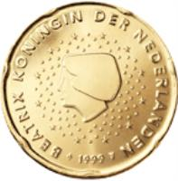 obverse of 20 Euro Cent - Beatrix - 2'nd Map (2007 - 2013) coin with KM# 269 from Netherlands. Inscription: BEATRIX KONINGIN DER NEDERLANDEN 2007