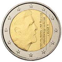obverse of 2 Euro - Willem-Alexander - 2'nd Map (2014 - 2015) coin with KM# 351 from Netherlands. Inscription: 2014 Willem-Alexander Koning der Nederlanden