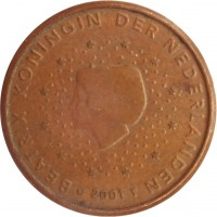obverse of 1 Euro Cent - Beatrix (1999 - 2013) coin with KM# 234 from Netherlands. Inscription: BEATRIX KONINGIN DER NEDERLANDEN 2001