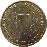 obverse of 50 Euro Cent - Beatrix - 1'st Map (1999 - 2006) coin with KM# 239 from Netherlands. Inscription: BEATRIX KONINGIN DER NEDERLANDEN 2006