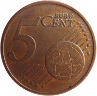 reverse of 5 Euro Cent (2002 - 2014) coin with KM# 742 from Portugal. Inscription: 5 EURO CENT LL