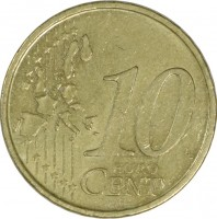 reverse of 10 Euro Cent - 1'st Map (2002 - 2007) coin with KM# 743 from Portugal. Inscription: 10 EURO CENT LL