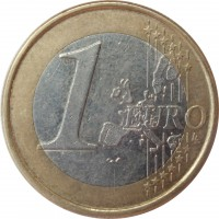 reverse of 1 Euro - 1'st Map (2002 - 2008) coin with KM# 746 from Portugal. Inscription: 1 EURO LL