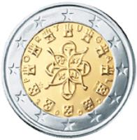 obverse of 2 Euro - 1'st Map (2002 - 2007) coin with KM# 747 from Portugal. Inscription: P O R T U G A L PO RT VG AL VS INCM 2 0 0 2