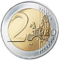 reverse of 2 Euro - 1'st Map (2002 - 2007) coin with KM# 747 from Portugal. Inscription: 2 EURO LL