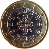 obverse of 1 Euro - 2'nd Map (2008 - 2015) coin with KM# 766 from Portugal. Inscription: PORTUGAL 2010