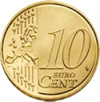 reverse of 10 Euro Cent - 2'nd Map (2008 - 2014) coin with KM# 763 from Portugal. Inscription: 10 EURO CENT LL