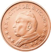 obverse of 1 Euro Cent - John Paul II (2002 - 2005) coin with KM# 341 from Vatican City. Inscription: CITTA' DEL VATICANO 2002 GV · UPINC · R