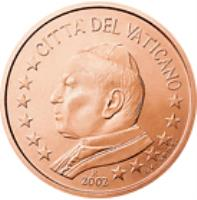 obverse of 5 Euro Cent - John Paul II (2002 - 2005) coin with KM# 343 from Vatican City. Inscription: CITTA' DEL VATICANO 2004 GV · UPINC · R