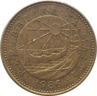 obverse of 1 Cent (1986) coin with KM# 78 from Malta. Inscription: · REPUBBLIKA · TA' · MALTA · 1986