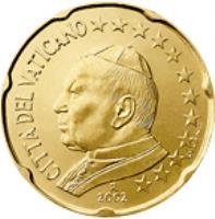 obverse of 20 Euro Cent - John Paul II (2002 - 2005) coin with KM# 345 from Vatican City. Inscription: CITTA' DEL VATICANO 2004 GV · UPINC · R
