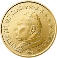 obverse of 50 Euro Cent - John Paul II (2002 - 2005) coin with KM# 346 from Vatican City. Inscription: CITTA' DEL VATICANO 2004 GV · UPINC · R