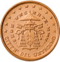 obverse of 1 Euro Cent - Sede Vacante (2005) coin with KM# 365 from Vatican City. Inscription: CITTA' DEL VATICANO · SEDE · VACANTE · MMV · R D. LONGO M.A.C. INC. CARITAS ET VERITAS