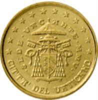 obverse of 10 Euro Cent - Sede Vacante (2005) coin with KM# 368 from Vatican City. Inscription: CITTA' DEL VATICANO · SEDE · VACANTE · MMV · R D. LONGO M.C.C. INC. CARITAS ET VERITAS
