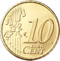 reverse of 10 Euro Cent - Sede Vacante (2005) coin with KM# 368 from Vatican City. Inscription: 10 EURO CENT LL