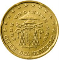 obverse of 20 Euro Cent - Sede Vacante (2005) coin with KM# 369 from Vatican City. Inscription: CITTA' DEL VATICANO · SEDE · VACANTE · MMV · R D. LONGO M.A.C. INC. CARITAS ET VERITAS