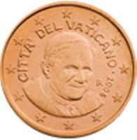 obverse of 1 Euro Cent - Benedict XVI (2006 - 2013) coin with KM# 375 from Vatican City. Inscription: CITTA' DEL VATICANO · 2013 R D. L. LDS INC.