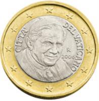 obverse of 1 Euro - Benedict XVI - 2'nd Map (2008 - 2013) coin with KM# 388 from Vatican City. Inscription: CITTA' DEL VATICANO D.L. R 2013 ELF INC.