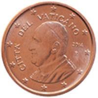 obverse of 2 Euro Cent - Francis (2014 - 2015) coin with KM# 456 from Vatican City. Inscription: CITA' DEL VATICANO R 2014 G.TITOTTO ELF INC.