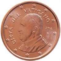 obverse of 5 Euro Cent - Francis (2014 - 2015) coin with KM# 457 from Vatican City. Inscription: CITA' DEL VATICANO R 2014 G.TITOTTO ELF INC.